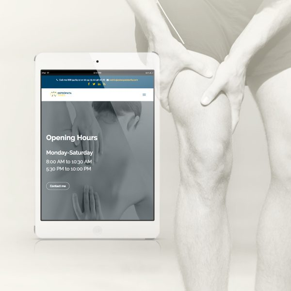 Osteopata Tarifa, Wordpress website, tablet view