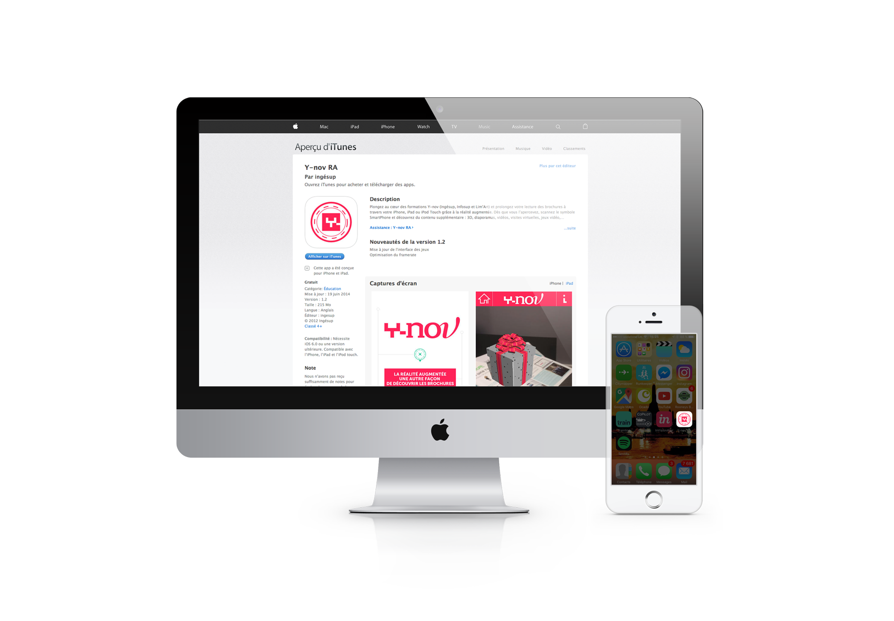 Y-nov RA, virtual reality, screen App Store