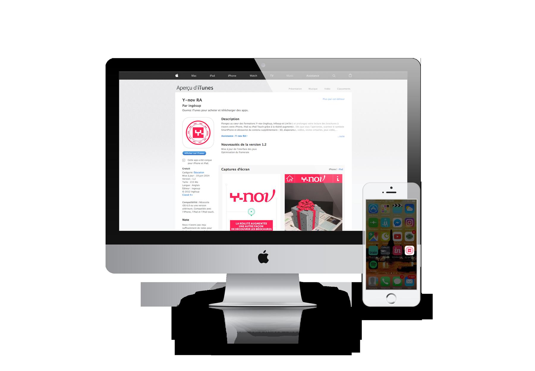 Y-nov RA, virtual reality, screen App Store